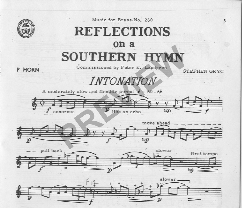 Reflections on a Southern Hymn: for horn alone / Gryc